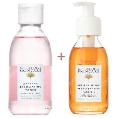 A.Florence Skincare Oczyszczanie Skóry Suchej ZESTAW Antyoksydacyjny olejek oczyszczający 100 ml + Złuszczający tonik z 5% kwasem mlekowym i 4% glukonolaktonem 150 ml
