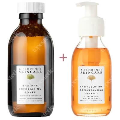 A.Florence Skincare Oczyszczanie Skóry Tłustej ZESTAW Antyoksydacyjny olejek oczyszczający 100 ml + Złuszczający tonik z 1,5% kwasem salicylowym i 5% glukonolaktonem 150 ml