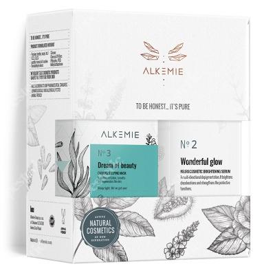 Alkemie Peaceful Beauty Set 2019 ZESTAW Maska 60 ml + Serum rozjaśniające 30 ml