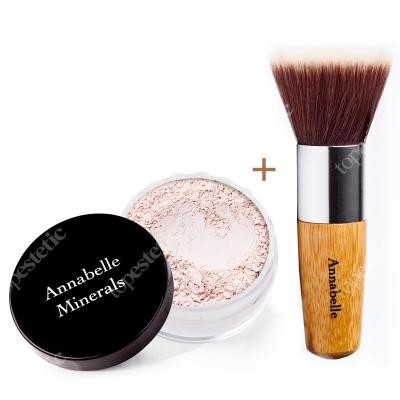 Annabelle Minerals Foundations Beige Cream + Flat Top ZESTAW Podkład rozświetlający (kolor Beige Cream) 10 g + Pędzel do nakładania podkładu mineralnego
