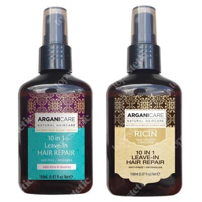 Arganicare 10 in 1 Hair Repair Set ZESTAW Odbudowa i rozplątanie 150 ml + Odżywka z olejkiem rycynowym 150 ml