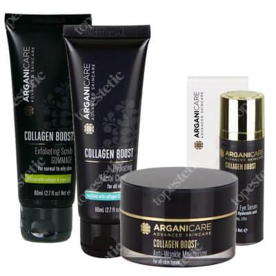 Arganicare Collagen Boost Mega Set ZESTAW Peeling 80 ml + Płyn do mycia twarzy 80 ml + Serum pod oczy 30 ml + Krem przeciwzmarszczkowy 50 ml