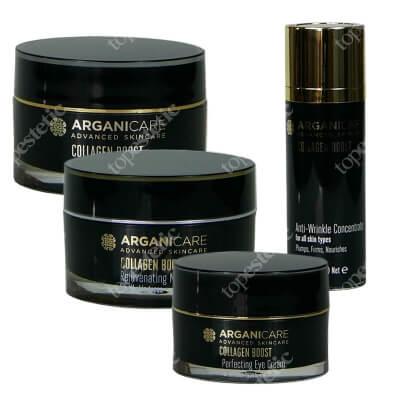 Arganicare Collagen Boost Set ZESTAW Krem przeciwzmarszczkowy SPF25 50 ml + Odmładzający krem na noc 50 ml + Serum przeciwzmarszczkowe 30 ml + Krem pod oczy 30 ml