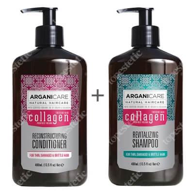 Arganicare Collagen Hair Set ZESTAW Szampon do cienkich włosów 400 ml + Odżywka odbudowująca 400 ml