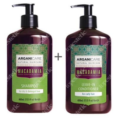 Arganicare Macadamia Set ZESTAW Szampon do suchych i zniszczonych włosów 400 ml + Odżywka bez spłukiwania 400 ml