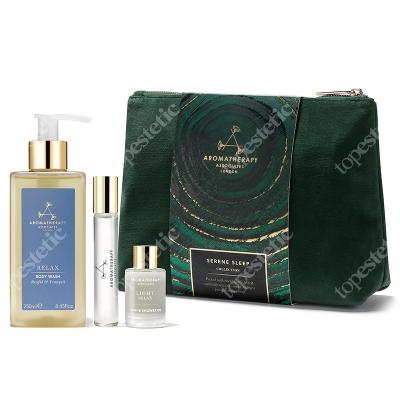 Aromatherapy Associates Serene Sleep ZESTAW Relaksujący olejek do kąpieli 9 ml + Relaksujący żel pod prysznic 250 ml + Perfumy 10 ml