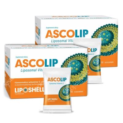 Ascolip Ascolip Dwupak - Liposomal Vitamin C 1000 mg ZESTAW Wysokowydajna liposomalna witamina C 2 x 30 x 5 g