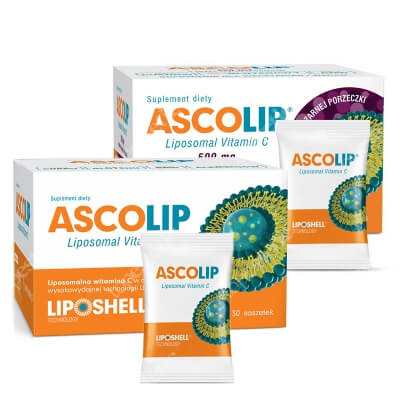 Ascolip Ascolip - Liposomal Vitamin C 1000 mg + Ascolip - Liposomal Vitamin C 500 mg ZESTAW Wysokowydajna liposomalna witamina C, 30x5 g + Liposomalna witamina C 500 mg o smaku czarnej porzeczki 30 x 5g