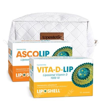 Ascolip Ascolip - Liposomal Vitamin C 1000 mg + Vita-D-LIP 1000 IU + Kosmetyczka ZESTAW Wysokowydajna liposomalna witamina C, 30x5 g + Liposomalna witamina D 30 saszetek + Biała, pikowana kosmetyczka