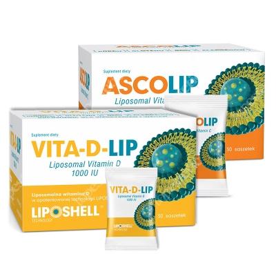 Ascolip Ascolip - Liposomal Vitamin C 1000 mg + Vita-D-LIP 1000 IU ZESTAW Wysokowydajna liposomalna witamina C, 30x5 g + Liposomalna witamina D 30 saszetek