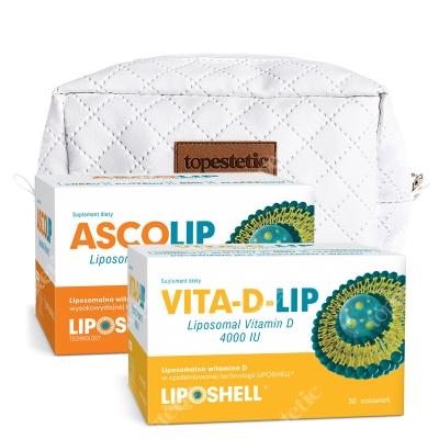 Ascolip Ascolip - Liposomal Vitamin C 1000 mg + Vita-D-LIP 4000 IU + Kosmetyczka ZESTAW Wysokowydajna liposomalna witamina C, 30x5 g + Liposomalna witamina D 30 saszetek + Biała, pikowana kosmetyczka