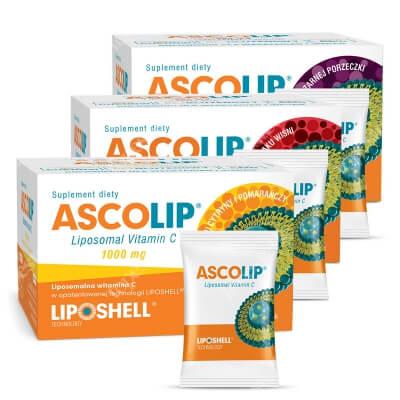 Ascolip Ascolip - Liposomal Vitamin C - 3 Pack ZESTAW Witamina C 1000 mg + Witamina C 500 mg o smaku wiśni + Witamina C 500 mg o smaku czarnej porzeczki 3 x 30 x 5 g