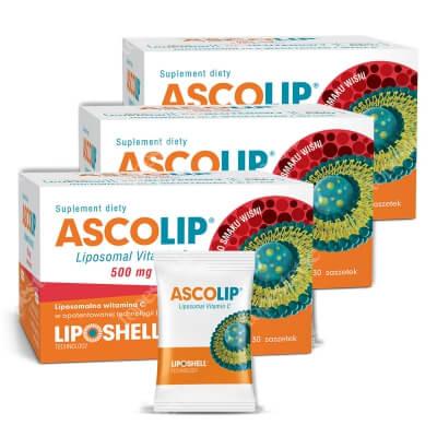 Ascolip Ascolip - Liposomal Vitamin C 500 mg 3 Pack ZESTAW Liposomalna witamina C 500 mg o smaku wiśni 3 x 30 x 5g
