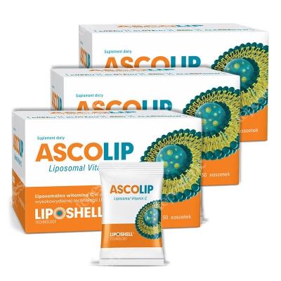 Ascolip Ascolip Trójpak - Liposomal Vitamin C 1000 mg ZESTAW Wysokowydajna liposomalna witamina C 3 x 30 x 5 g