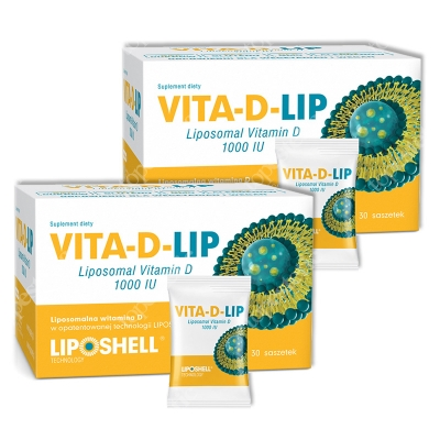 Ascolip Dwupak Vita-D-LIP 1000 IU ZESTAW Liposomalna witamina D 2 x 30 saszetek