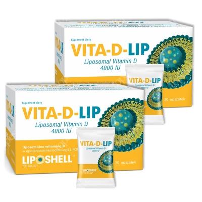 Ascolip Dwupak Vita-D-LIP 4000 ZESTAW Liposomalna witamina D 2 x 30 saszetek