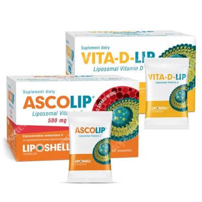 Ascolip Vita-D-LIP 1000 IU + Ascolip - Liposomal Vitamin C 500 mg ZESTAW Liposomalna witamina D 30 saszetek + Liposomalna witamina C 500 mg o smaku wiśni 30 x 5g