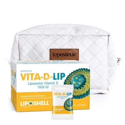 Ascolip Vita-D-LIP 1000 IU + Kosmetyczka ZESTAW Liposomalna witamina D 30 saszetek + Biała, pikowana kosmetyczka