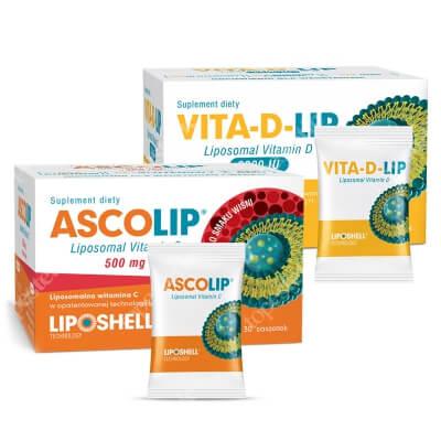 Ascolip Vita-D-LIP 2000 IU + Ascolip - Liposomal Vitamin C 500 mg ZESTAW Liposomalna witamina D 30 saszetek + Liposomalna witamina C 500 mg o smaku wiśni 30 x 5g