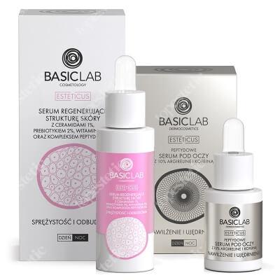 BasicLab Nawilżenie i Ujędrnienie + Sprężystość i Odbudowa ZESTAW Serum peptydowe pod oczy z argireliną 10%, 15 ml + Serum regenerujące strukturę skóry z ceramidami i kompleksem peptydów 30 ml