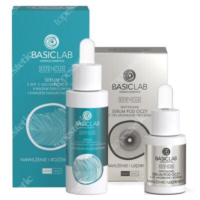 BasicLab Nawilżenie , Ujędrnienie i Rozświetlenie ZESTAW Serum peptydowe pod oczy z argireliną 10%, 15 ml + Serum z witaminą C 15%, 30 ml