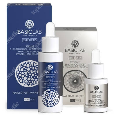 BasicLab Nawilżenie, Wypełnienie i Ujędrnienie ZESTAW Serum z Trehalozą i 10% i Peptydem 5%, 30 ml + Serum peptydowe pod oczy z argireliną 10%, 15 ml