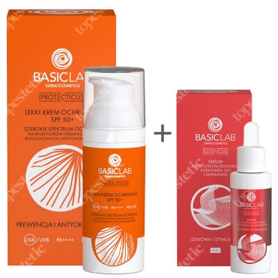 BasicLab Odnowa i Stymulacja + Prewencja i Antyoksydacja ZESTAW Serum z czystym retinolem 0,5%, 15 ml + Lekki krem ochronny SPF 50+, 50 ml