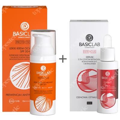 BasicLab Odnowa, Stymulacja i Antyoksydacja ZESTAW Serum z czystym retinolem 2%, 30 ml + Lekki krem ochronny SPF 50+, 50 ml