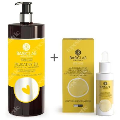 BasicLab Odżywienie i Wygładzenie ZESTAW Delikatny żel do mycia dla całej rodziny 500 ml + Antyoksydacyjne serum regenerujące 30 ml