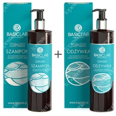 BasicLab Pielęgnacja Włosów Cienkich ZESTAW Szampon do włosów cienkich 300 ml + Odżywka do włosów cienkich 300 ml