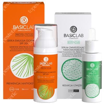 BasicLab Prewencja i Antyoksydacja + Redukcja i Zwężenie ZESTAW Emulsja ochronna SPF50+ + Serum zmniejszające niedoskonałości z niacynamidem 10%, 30 ml