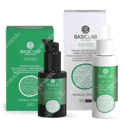 BasicLab Redukcja i Zwężenie Porów ZESTAW Peeling kwasowy zmniejszający niedoskonałości 30 ml + Serum zmniejszające niedoskonałości z niacynamidem 10%, 30 ml