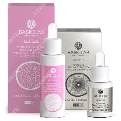 BasicLab Sprężystość,Odbudowa i Nawilżenie ZESTAW Serum regenerujące strukturęskóry z ceramidami 1%, 30 ml + Serum peptydowe pod oczy z argireliną 10%, 15 ml