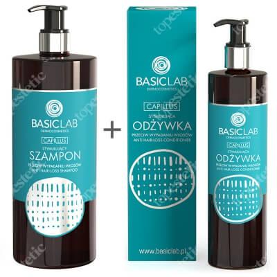 BasicLab Wzmocnienie i Zapobieganie Wypadaniu Włosów ZESTAW Szampon przeciw wypadaniu włosów 500 ml + Stymulująca odżywka przeciw wypadaniu włosów 300 ml