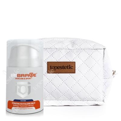 Be Brave Hydrating Revitalizing Balm + Kosmetyczka ZESTAW Nawilżający i wygładzający lekki krem dla mężczyzn 50 ml + Biała, pikowana kosmetyczka