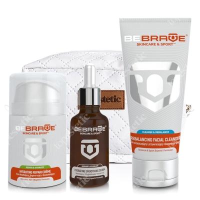 Be Brave Hydrating Smoothing Serum + Hydrating Repair Creme + Rebalancing Facial Cleanser + Kosmetyczka ZESTAW Nawilżający i wygładzający koncentrat 30 ml + Krem Nawilżający, regenerujący i rozświetlający 50 ml + Żel oczyszczający i przywrac