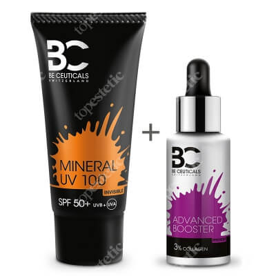 Be Ceuticals Advanced Booster Collagen 3% + Mineral UV 100 SPF 50+ ZESTAW Zaawansowane wzmocnienie - Kolagen i kwas hialuronowy 30 ml + Krem mineralny z ochroną100 ml