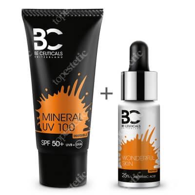 Be Ceuticals Wonderful Skin 25% L Ascorbic Acid + Mineral UV 100 SPF 50+ ZESTAW Cudowna skóra - Kwas askorbinowy + kwas liponowy 15 ml + Krem mineralny z ochroną100 ml