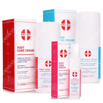 Beta Skin Acne Care Cream + Spot Care Cream + Foot Care Cream ZESTAW Krem do skóry trądzikowej 75 ml + Krem punktowy na podrażnienia 15 ml + Krem do stóp 75 ml