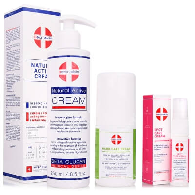 Beta Skin Natural Active Cream + Spot Care Cream + Hand Care Cream ZESTAW Krem łagodzący 250 ml + Krem punktowy na podrażnienia skórne 15 ml + Krem do dłoni 75 ml