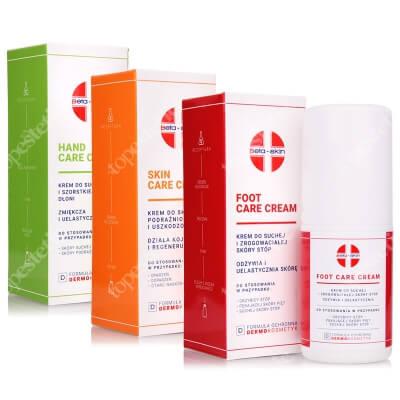 Beta Skin Skin Care Cream + Foot Care Cream + Hand Care Cream ZESTAW Krem do skóry podrażnionej i uszkodzonej 75 ml + Krem stóp 75 ml + Krem do dłoni 75 ml