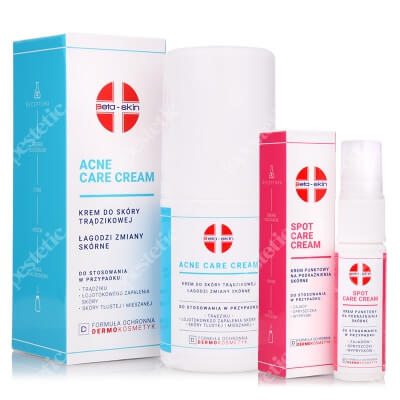 Beta Skin Spot Care Cream + Acne Care Cream ZESTAW Krem punktowy na podrażnienia skórne 15 ml + Krem do skóry trądzikowej, łagodzi zmiany skórne 75 ml