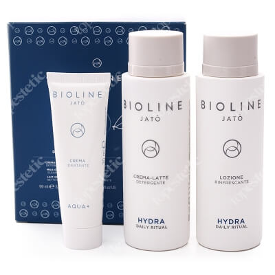Bioline Jato Travel Kit Daily Ritual Aqua+ ZESTAW Tonik 99 ml + Mleczko 99 ml + Krem nawilżający 30 ml