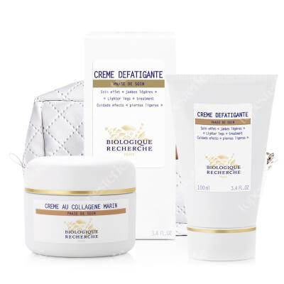 Biologique Recherche Creme au Collagene Marin + Creme Defatigante ZESTAW Krem anti-aging do skóry mieszanej 50 ml + Krem na ciężkie nogi 100 ml + Kosmetyczka