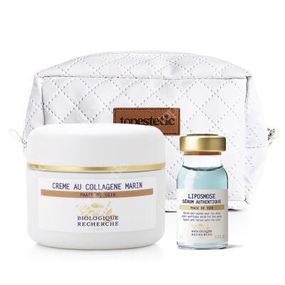 Biologique Recherche Creme au Collagene Marin + Serum Liposmose ZESTAW Krem anti-aging do skóry mieszanej 50 ml + Przeciwobrzękowe serum pod oczy 8 ml + Kosmetyczka