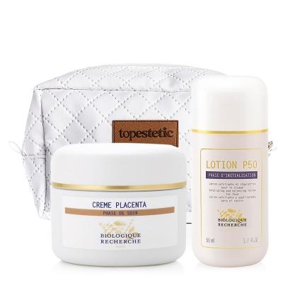 Biologique Recherche Lotion P50 + Creme au Placenta + Kosmetyczka ZESTAW Złuszczający lotion do skóry tłustej 50 ml + Regenerujący krem z placentą 50 ml + Biała, pikowana kosmetyczka