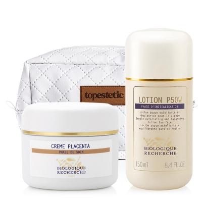 Biologique Recherche Lotion P50W + Creme au Placenta + Kosmetyczka ZESTAW Złuszczający lotion p50W do skóry wrażliwej 150 ml + Regenerujący krem z placentą 50 ml + Biała, pikowana kosmetyczka