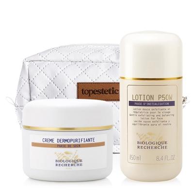 Biologique Recherche Lotion P50W + Creme Dermopurifiante + Kosmetyczka ZESTAW Złuszczający lotion p50W do skóry wrażliwej 150 ml + Oczyszczający krem do cery trądzikowej 50 ml + Biała, pikowana kosmetyczka