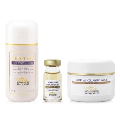 Biologique Recherche Skóra Łojotokowa ZESTAW Lotion P50 150 ml + Serum Dermopore 8 ml + Creme Au Collagene Marin 50 ml