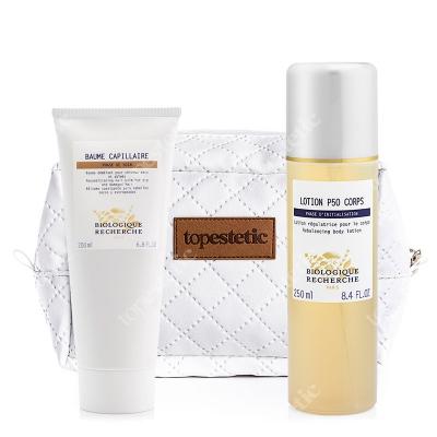 Biologique Recherche Wygładzający Zestaw Do Ciała I Włosów ZESTAW Złuszczający lotion 250 ml + Balsam wygładzający 200 ml + Kosmetyczka